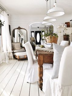 Shabby to Chic: Five Ways to Revamp and Modernize Your Shabby Chic Room - Sweet Home And Garden Style Deco, Pine Floors, Piece A Vivre, Dining Room Furniture, Concrete Furniture, Concrete Lamp, Kid Furniture, Stained Concrete, Furniture Design