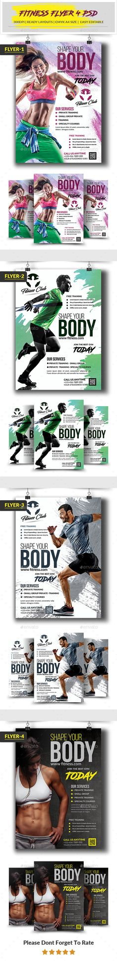 Fitness Flyer Pinterest Flyer template, Adobe photoshop and Template
