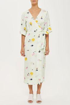 Wedding Guest Dress | Marble Floral Wrap Dress | Topshop UK Affiliate