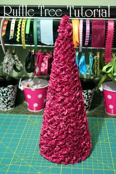 Fabric Ruffle Christmas Tree...maybe use with ribbon instead of fabric to make it easier