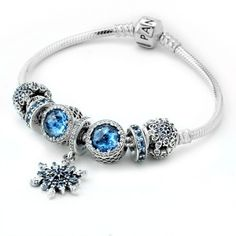 925 Sterling Silver Finished Pandora Charm Bracelet-Blue Christmas