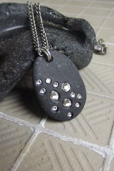 Beach stone and Swarovski necklace!