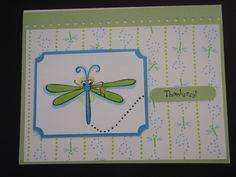 Stampin' Up dragonfly from Cute as a Bug set (retired), colored with Copics. Inspired by Tracy Vinson at Splitcoaststampers.com