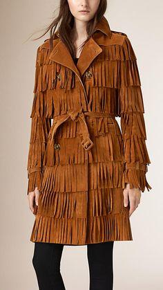 Vermelho russet Trench coat com franjas em camadas - Imagem 1