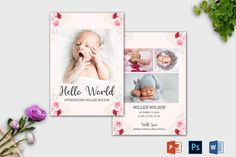 Floral Birth Announcement Template | Newborn Announcement template, Birth announcement card, Birth announcement printable, Baby Announcement Twin Birth Announcements, Birth Announcement Template, Birth Announcement Girl, Announcement Cards, Recipe Book Templates, Cookbook Template, Youth Group Activities, Youth Groups, Group Games