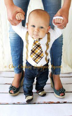 Baby Boy Tie Bodysuit Suspenders. Birthday by ChicCoutureBoutique, $19.00