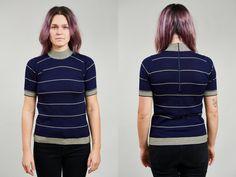 1950s Ballantyne Blue Stripped Wool Turtleneck Tshirt  S by SoftServeVintage