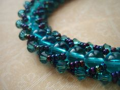 Beaded Bracelet  Aquatic by OceanPearlJewellery on Etsy, $23.99