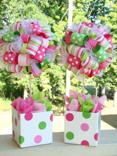 Single Ribbon Topiary in Lime Hot Pink and Pink Strawberry Shortcake