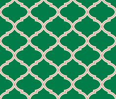 Modern preppy girls room...Lily Trellis in Green and Pink fabric by sparrowsong on Spoonflower - custom fabric