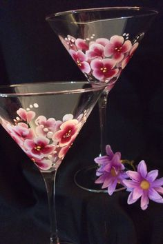 Cherry Blossom Martini Glasses by SusanRuthCreations on Etsy, $12.00