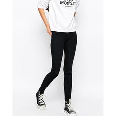 Cheap Monday High Spray Jeans ($63) ❤ liked on Polyvore featuring jeans, dig blue, blue jeans, skinny jeans, white high waisted jeans, stretch jeans and super skinny jeans