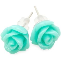 Rose earrings ($7.86) ❤ liked on Polyvore featuring jewelry, earrings, accessories, brincos, blue, fillers and mint