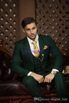 Men's Notch Lapel Single Breasted Tuxedo Dark Green Cuff Link Suit - Fashion tips - Outfits Hombre Casual, Blazer Outfits Men, Men Blazer, Green Wedding Suit, Wedding Suits, Wedding Tuxedos, Wedding Dress, Mens Fashion Suits, Mens Suits