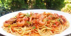 Spaghetti con scampi e pomodorini   Dolci Passioni