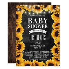 Rustic Sunflower Floral Chalkboard Baby Shower Invitation | Zazzle.com Baby Shower Host, Baby Shower Gift Basket, Floral Baby Shower, Baby Shower Invites For Girl, Baby Shower Parties, Baby Shower Invitations, Baby Shower Gifts, Baby Gifts, Girl Shower