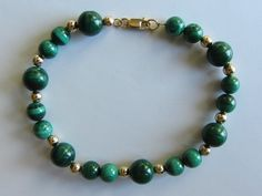 14k Gold Genuine Natural Malachite 14k Gold Beads by GoldnBeads