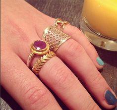 "Karen Liberman rings @ WHITE bIRD Jewellery. Ruby, gold and silver ring. ""Laurel leaf"" gold ring: Cathy Waterman @ WHITE bIRD."