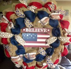 Extra Large Red,White and Blue American Wreath