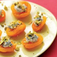Apricot Canapes with Pistachios & Blue Cheese