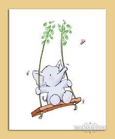 Nursery Room Art - Elephant on Swing, 8x10 Print