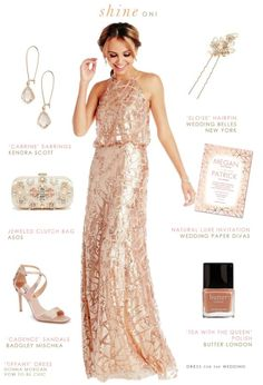 Peach sequin bridesmaid gown