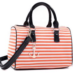 Dasein Anchor Canvas Striped Satchel Bag ($45) ❤ liked on Polyvore featuring bags, handbags, bolsas, black, hand bags, man bag, satchel purses, handbag satchel and travel handbags