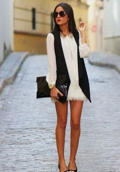 chic black vest and white dress 7 Divine Ways to Wear a White Dress