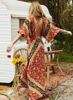 Bohemian V Neck Backless High Slit Cut out Maxi Dress OASAP.com