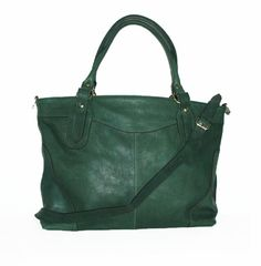 Nora XL. in Green Leather Cross-body Purse Leather от ChicLeather