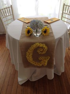 Sweetheart table for rustic sunflower wedding. Intead of G.. a B for Bennett in our wedding colors <3