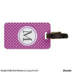Purple Polka Dot Pattern Luggage Tag