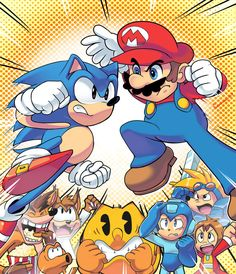 Hedgehog versus Plumber Why can't sonic and Mario fans get together! They are even in the same universe for crying out loud! Nintendo Super Smash Bros, Super Mario Bros, Rocket Knight Adventures, Super Smash Ultimate, Mundo Dos Games, Spyro The Dragon, Sonic Fan Art, Cartoon Crossovers, Crash Bandicoot