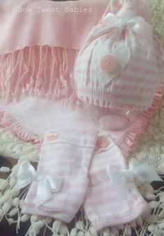 Newborn photo prop set - pink and white 2 layers and hat and leggings set baby girl infant layering blankets