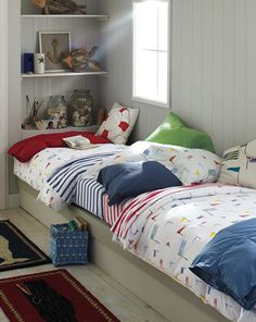 Nautical Bedroom: I like the idea of putting the beds along the wall for extra floor space