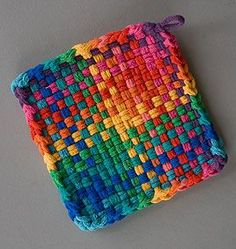 pot holder color gamp finished, tutorial on how to make and finish this type of weaving