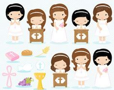 Holy Communion Dresses, First Holy Communion, Kids Church Lessons, Party Printables, Clipart, Digital Scrapbooking, Hello Kitty, Etsy Seller, Things To Sell