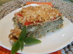 Vegan Lasagna with Creamy Swiss Chard Filling, Walnut Pesto, and Fresh Roma Tomato Sauce