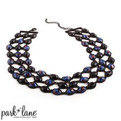 "Cobalt cool necklace **IN STOCK** Cobalt Cool Take a bite from our newest animal-inspired pieces, crafted of faceted resin set in jet black-plated metal and dressed up with a smattering of wild burnt orange and cobalt blue leopard spots. Necklace 16""+3"". All jewelry has a lifetime warranty. Our company has been in the jewelry business since 1955! www.JennsBlingThing.com Park Lane Jewelry Necklaces"