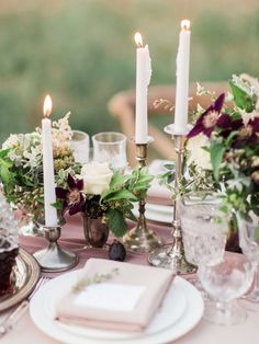 Muted Mauve and Berry Wedding Table Decor | Koman Photography | http://heyweddinglady.com/frosted-lavender-winter-purple-berry-wedding-inspiration/