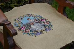 D.I.Y chair cover, vintage needlepoint chair cover, tapestry, women, young women, mandolin, petit point, flowers, romantic .
