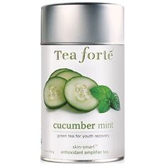 A loose leaf blend of Indian green tea with basil, mint and cucumber, making for a healthy and delicious cup. Tea Canisters, Tea Tins, Cucumber Benefits, Mint Tea, Eating Organic, Tea Blends, Loose Leaf Tea, Herbal Remedies, Gourmet Recipes