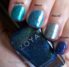 Zoya's Charla, Muse, Hazel, and Dream.  Not dupes, although Charla and Muse are similar in color.