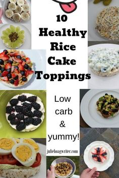 10 Healthy Rice Cake Toppings for low carb breakfast or snack. Yummy toppings for rice cakes. Easy recipes for low carb breakfast Rice Cakes Healthy, Rice Cake Snacks, Rice Cake Recipes, Healthy Snacks, Snack Recipes, Healthy Recipes, Rice Cake Toppings, Delicious Recipes, Yogurt Recipes