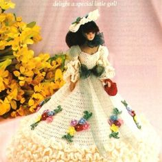 Y00 Crochet PATTERN ONLY Garden Party Gown & Hat Fashion Doll Barbie | BeadedBundles - Instructional on ArtFire