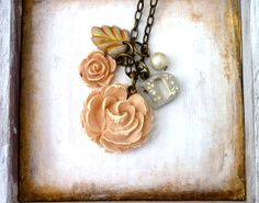 Boho+Chic+Jewelry++Big+Rose+and+Charms+Initial+by+Palomaria,+$36.00