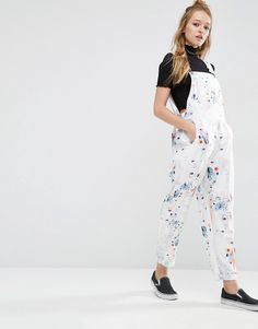 Image 1 of ASOS Dungaree Jumpsuit in Floral Print