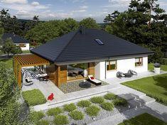 House design Astrid - top view - Small home - Bungalow House Plans, Bungalow House Design, New House Plans, Small House Plans, 4 Bedroom House Designs, Modern Small House Design, Model House Plan, Village Houses, Facade House