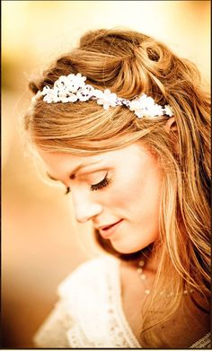 Flower Crown Lace Headpiece - Woodland Wedding - Romantic Bridal Floral Vine Tiara - Miriam. $75.00, via Etsy.