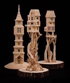 These sculptures consists of 300,000 toothpicks that have masterfully been sculpted into extraordinary buildings, detailed with everything from windows and winding staircases to bricks and shingles.